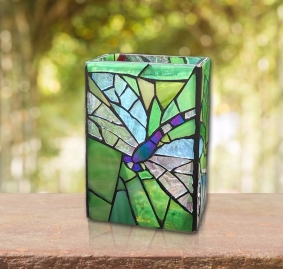 Dragonfly stained glass mosaic vase candle holder