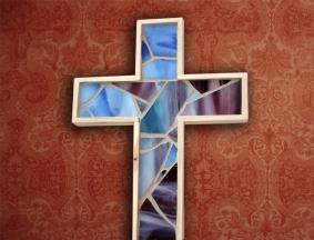 blue purple wooden cross