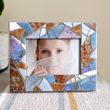 silver blue glass frame