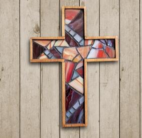 rustic mosaic wall cross