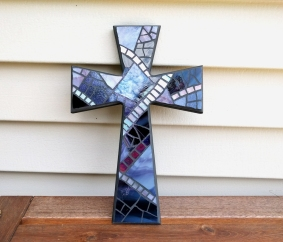 purple stained glass wall cross