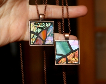 copper stained glass necklace