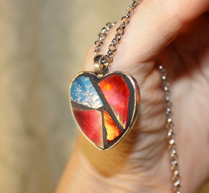 glass mosaic heart pendant