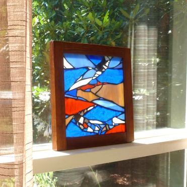 stained glass blue panel