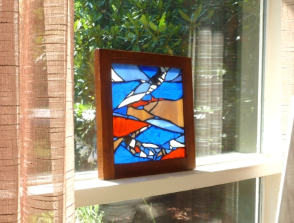 nautical stained glass blue panel