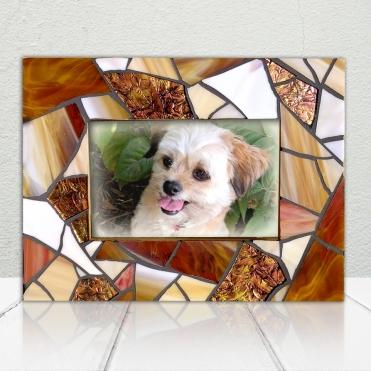 Rustic Amber Mosaic Frame