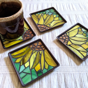 Mosaic Sunflower Coasters